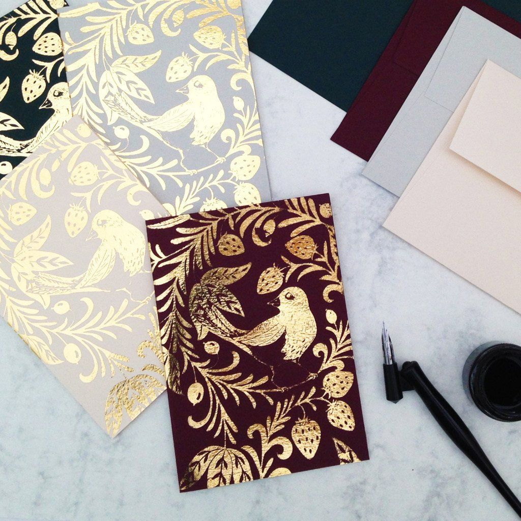gold folklore luxury christmas card set | Snowy Holidays | Pinterest ...