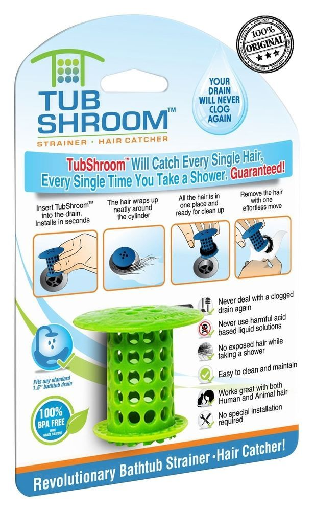 Original Tubshroom Hair Catcher Strainer Drain Protector For