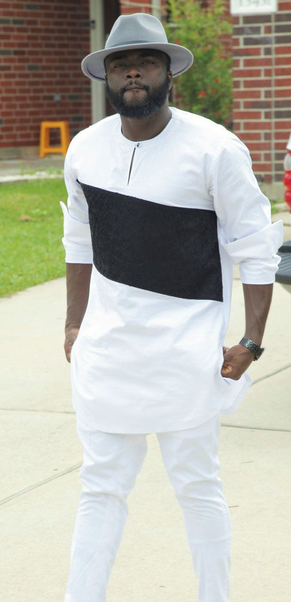 e54920d2c6618 Men's African Wear White with Black Embroidery par SuccesSexy ...