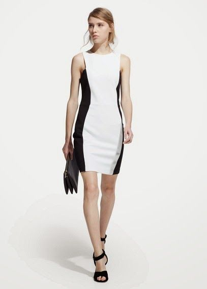 df2321eb8a7b9 siyah beyaz dar kesim elbise, kolsuz model Mango 2015 Elbise Modelleri