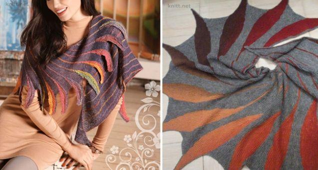 шаль вязание укороченными рядами вязание спицами вязание для
