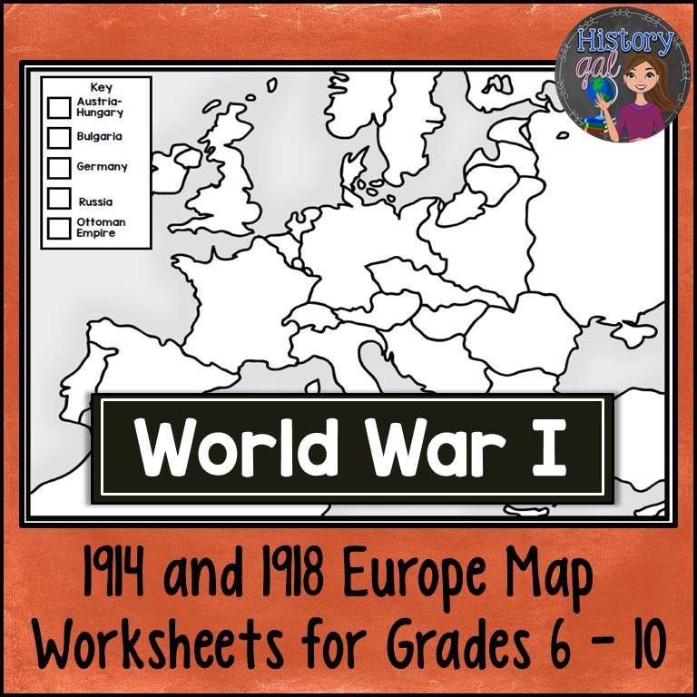 World War I Map Activity (1914 and 1918 Europe Maps)   TpT Social ...