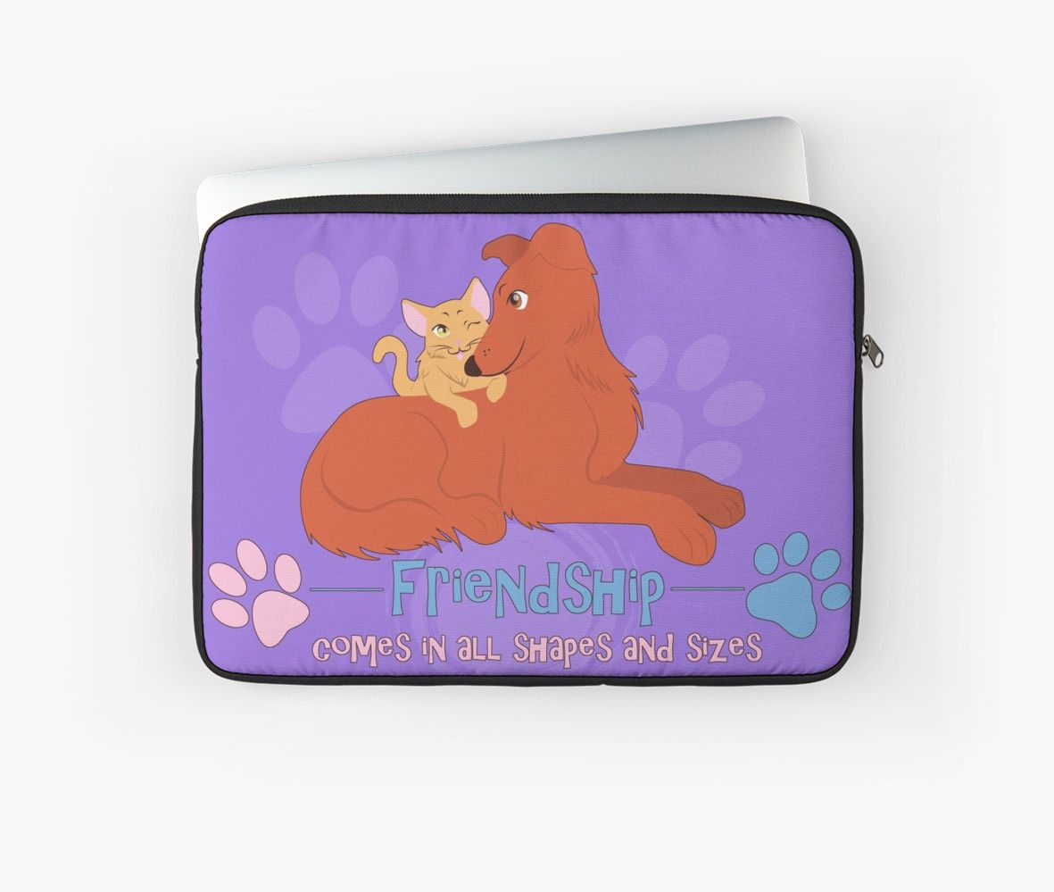 Friendship Laptop Sleeve #dogs #cats #puppies #kittens #friendship