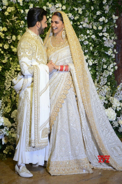 Deepika Padukone And Ranveer Singh At Their Grand Mumbai Wedding Reception Deepveer Indian Bridal Indian Wedding Outfits Desi Wedding Dresses