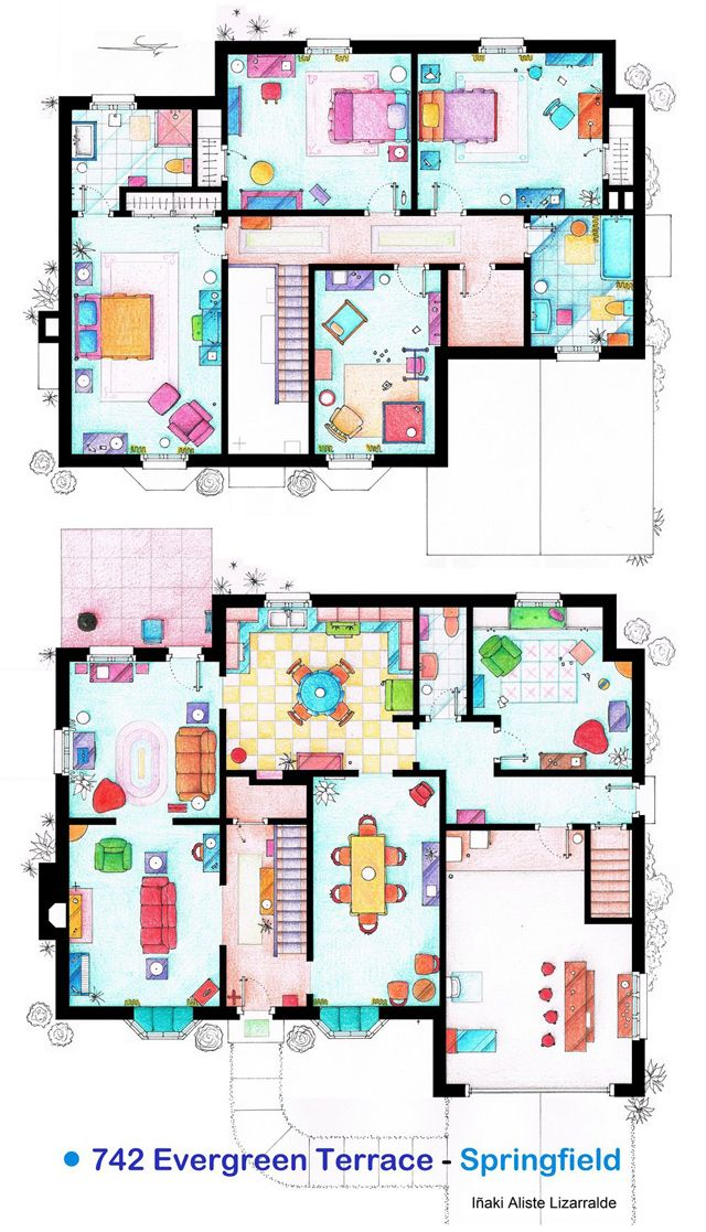 Hand Drawn Floor Plans Of Popular Tv Show Apartments And Houses Tv Show House Floor Plan Drawing Show Home