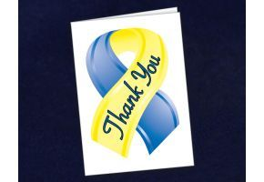 Small Blue & Yellow Ribbon Thank You Card - (STY-10)