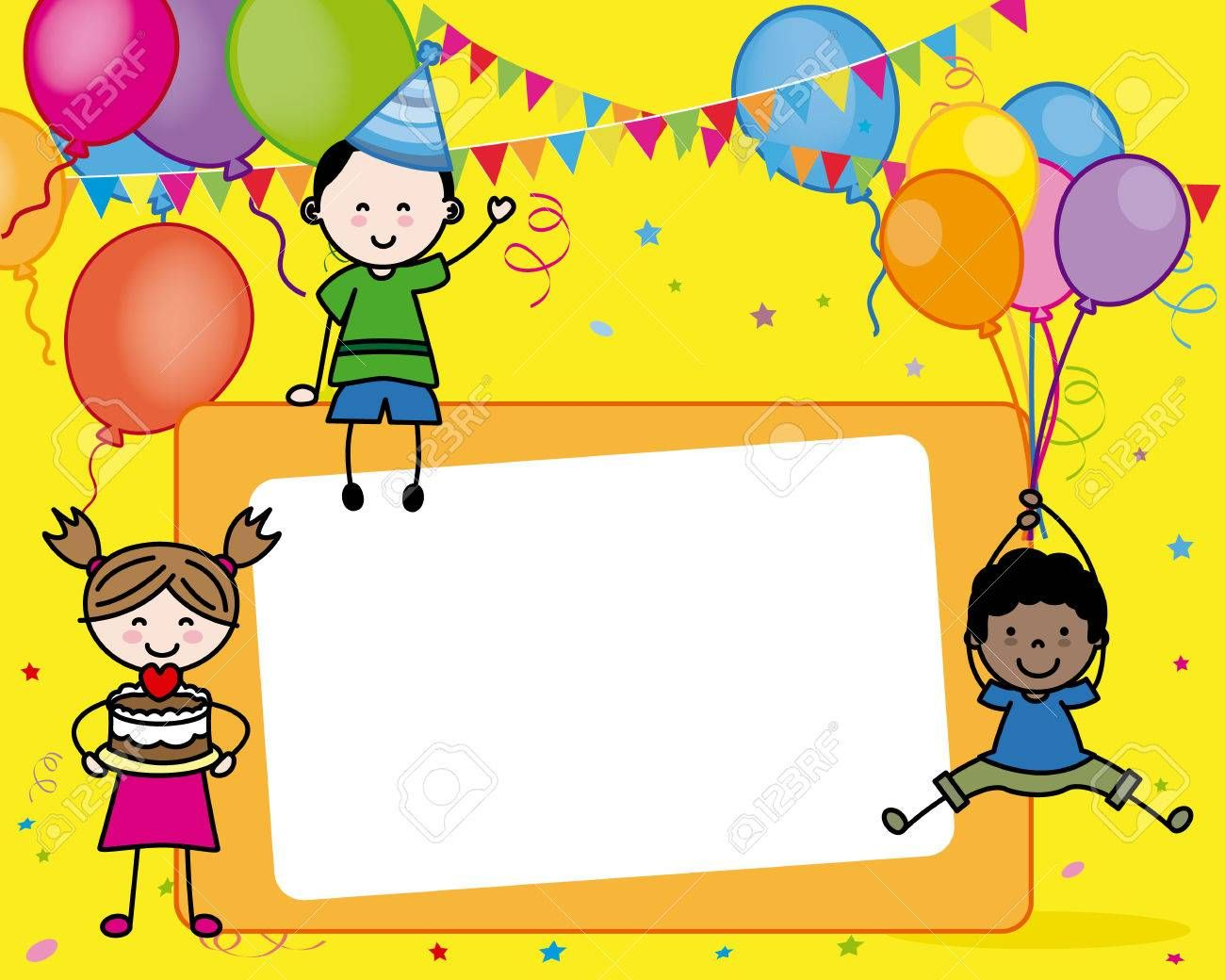 Birthday Card Children With Space For Text Royalty On Happy Birthday Card Template Kids Drawing Chi Birthday Card Template Birthday Cards Birthday Wishes Cards