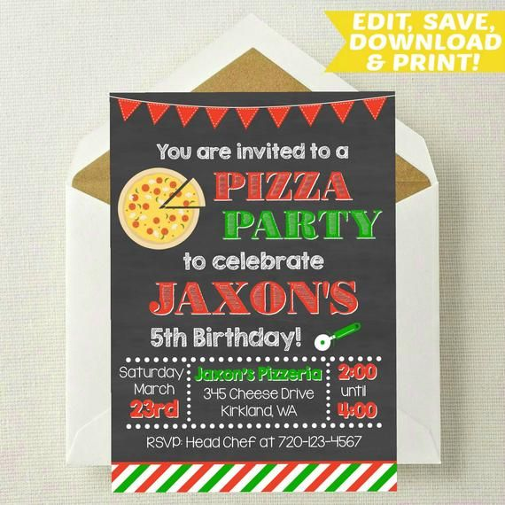 Pizza Invitation Editable Making Invite Template Birthday Download