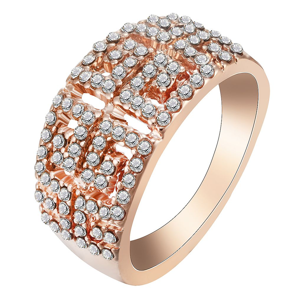 Newest Real Rose Gold Plate Rings Austrian Crystal Element Geometric Ring Chinese Styple Retro Women Jewelry