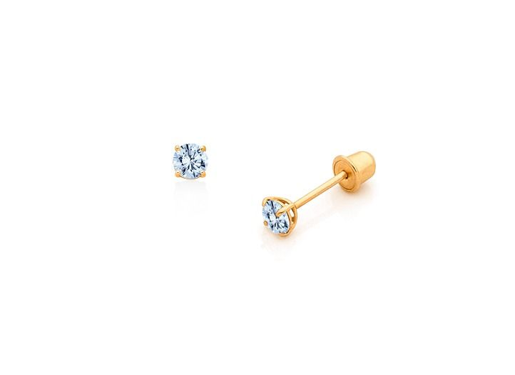 14K Yellow Gold Aquamarine Birthstone Screw Back Dangle Earrings For Children