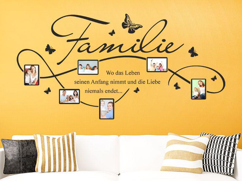 Wandtattoo Familie Fotorahmen mit Spruch | Wandtattoo familie ...