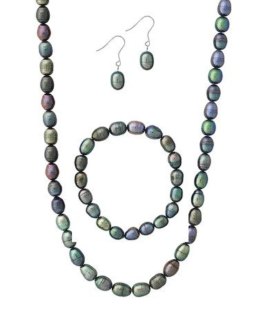 Loving this Peacock Freshwater Pearl Necklace & Bracelet Set on #zulily! #zulilyfinds