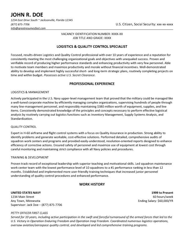 Government resume example and template to use #ResumeTemplate - logistics resume