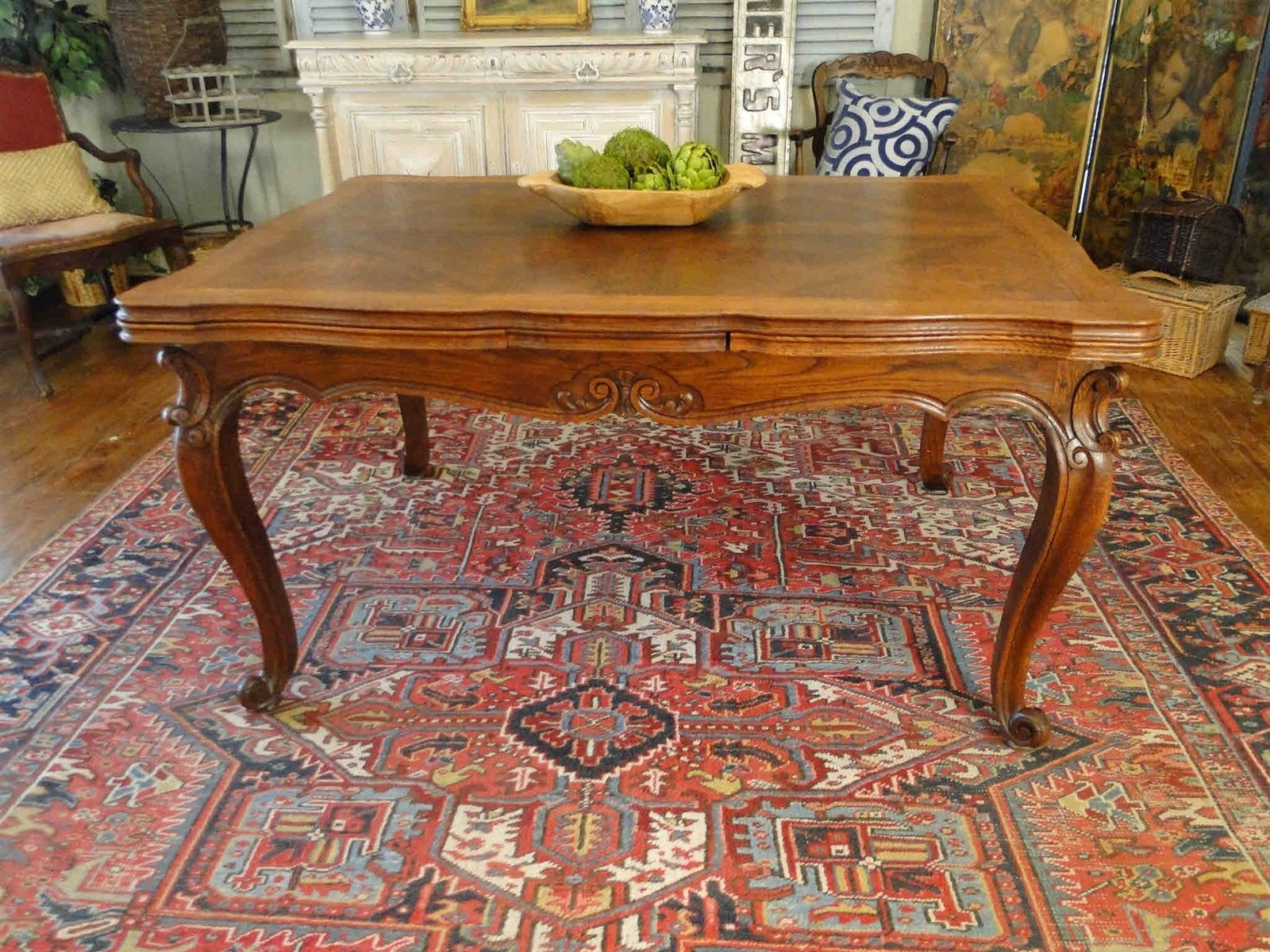French Antique Country Dining Table With Lovely Oak Parquet Top