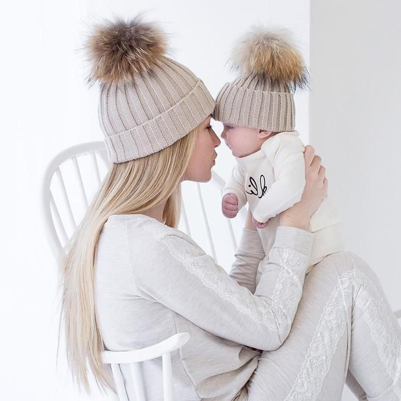 Women s and Infant Warm Knit Matching Pom Beanie Hat  3ca7cd5d24