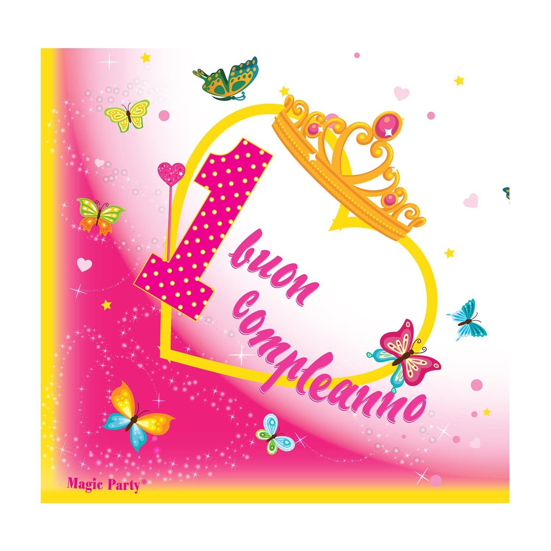 Tovagliolo Per Primo Compleanno Di Una Bambina Con Cuore Grande Uno Rosa A Pois Farfalle E Coroncina Da Princ Compleanno Auguri Di Compleanno Compleanno Rosa