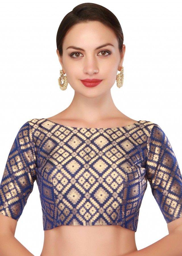 df788d2e7956f5 Navy blue blouse in brocade silk
