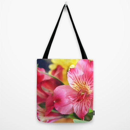 Tote Bag Rose Pink Lilium Flowers Market Shopping by NatureCity, $36.00