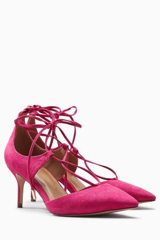 7340479d0e2 Buy Pink Lace-Up Pointed Kitten Heels from the Next UK online shop ...