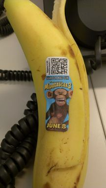 "My banana wants me to start collecting Madagascar 3 stickers -- ""collect all four ... available for a limited time only."" Trying Excitement contained."