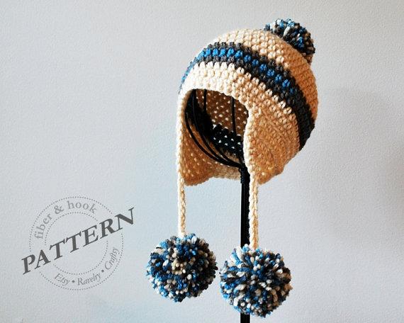 Crochet Pattern Pom Pom Earflap Beanie Crochet Pom Pom Hat Ear