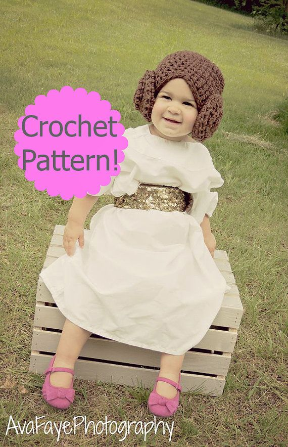 CROCHET PATTERN. Star Wars Princess Leia Hat Crochet Wig Pattern ... 07f0a668f2c