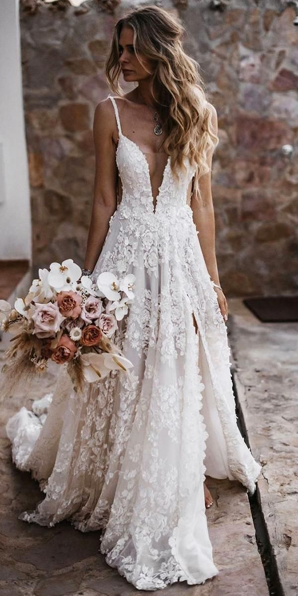 12 Barnyard Wedding Dresses To Inspire Any Bride ❤  barnyard wedding dresses a line with spaghetti straps floral appliques galialahav ❤ #weddingdresses