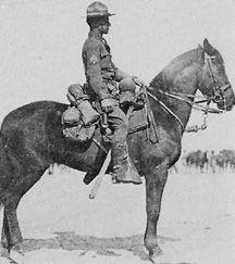 McClellan saddle, full pack, near side