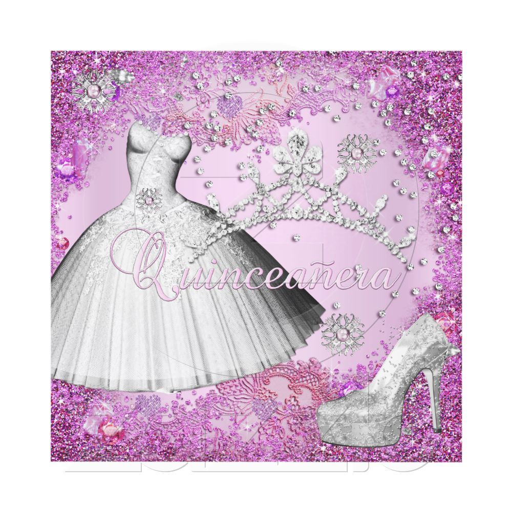 Purple dress with shoes  Quinceanera th Party Pink Tiara Dress Shoe Invitations by Zizzago