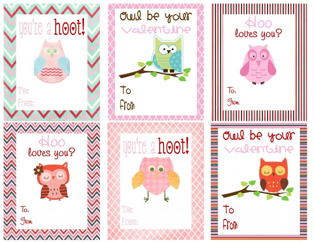photograph relating to Printable Valentines Day Cards for Kids named Cost-free Owl Printables Free of charge Printable Valentines Working day Playing cards