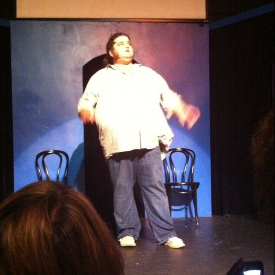 Hurley (Jorge Garcia) performing with an improv troupe at iO West.