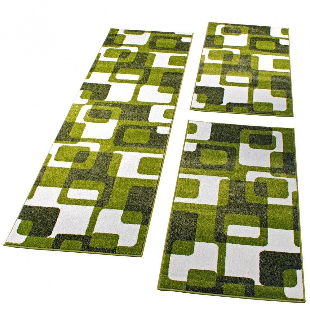 Teppich läufer grün  Bettumrandung Läufer Teppich Retro Design Grün GrauLäuferset 3 Tlg ...