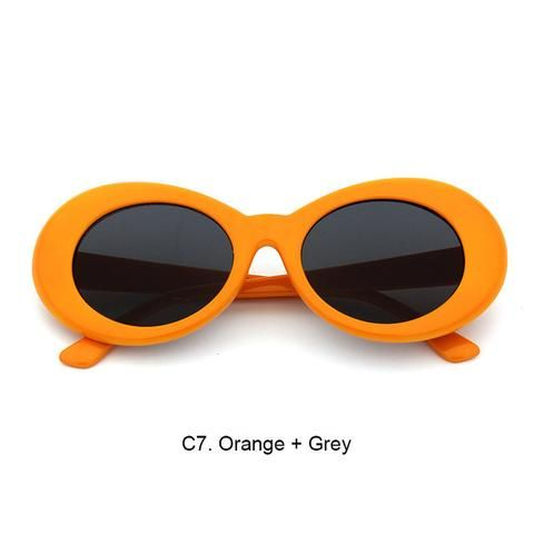 939378e5f5d75 Orange with Black Lenses Nirvana s Kurt Cobain oval sunglasses reproduction