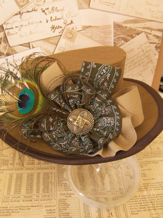 Western Promise - Steampunk riding top hat made with tweed fabric and vintage trimmings