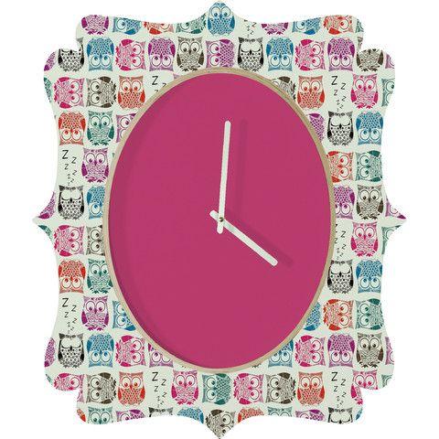 Sharon Turner Light Sherbet Owls Quatrefoil Clock #owls #sherbet #owl #sharonturner #pink #clock #cute #deny