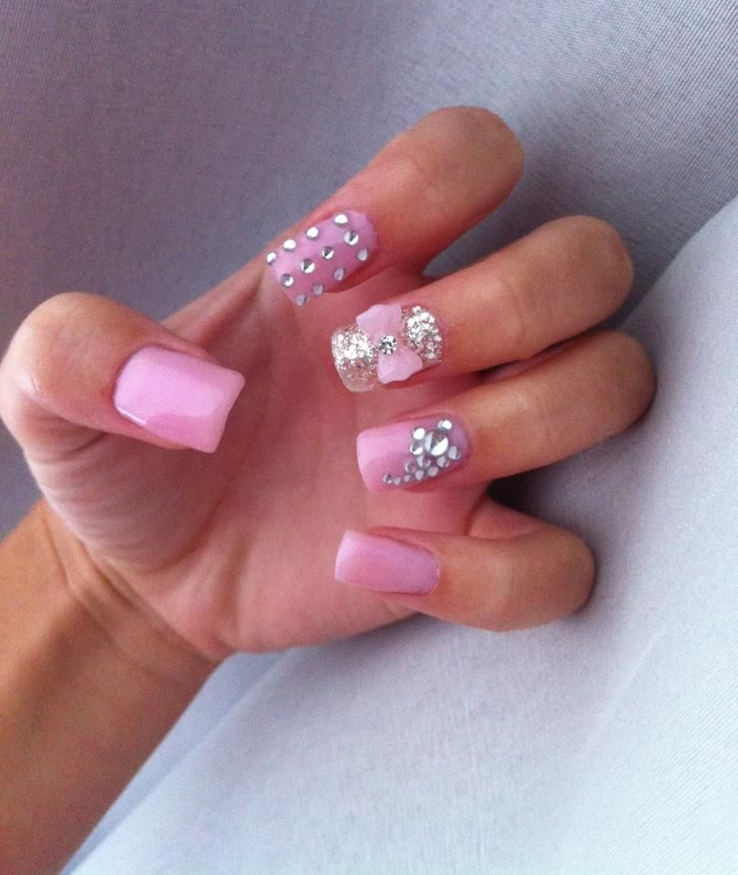Pink gel nails with diamante.....how would you do anything with ...