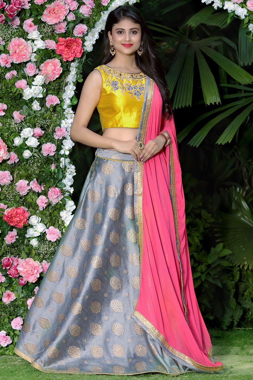 0338921d5e42be Shop Women Ethnic Wear  Beautiful rose pink dupatta with yellow zardosi  work blouse