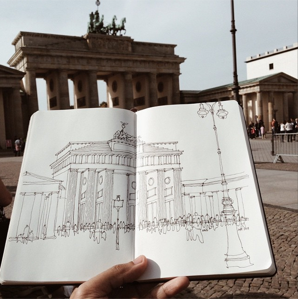 Brandenburg Gate Tend To Travel Architecture Sketch Drafting Drawing Sketches