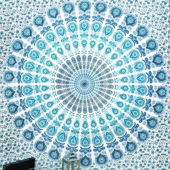 Queen White Blue Indian Elephant Mandala Tapestry Hanging