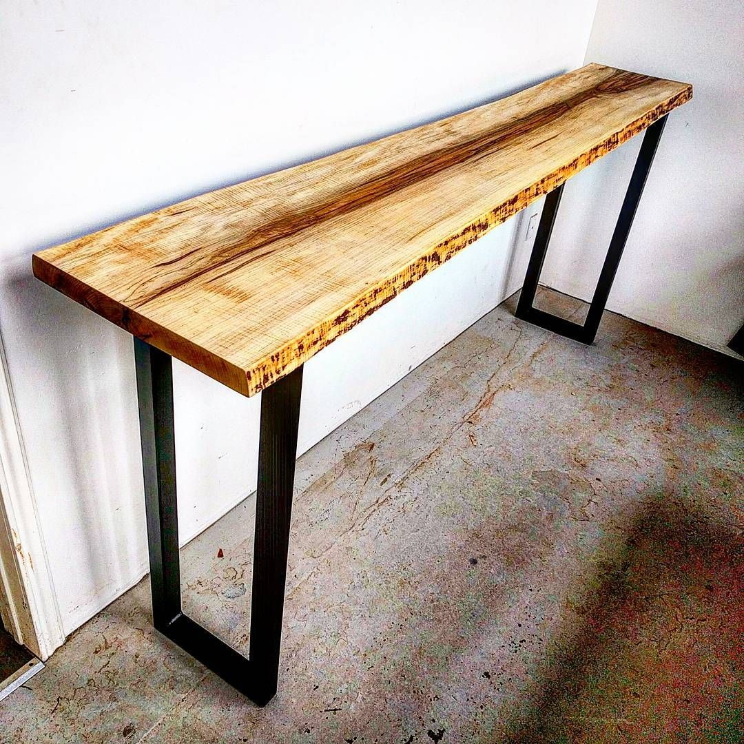 Curly Maple Live Edge Console Table On Raw Steel Legs By Barnboardstore Com Live Edge Table Living Table Live Edge Console Table