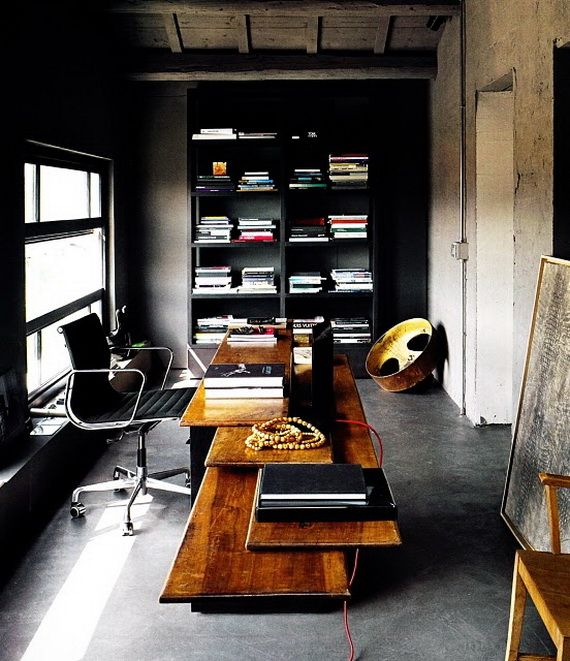 man office ideas. Masculine Home Office Ideas For Men In Black And Dark Wood Furniture : Gorgeous Wooden Desk Traditional Interior D. Man E