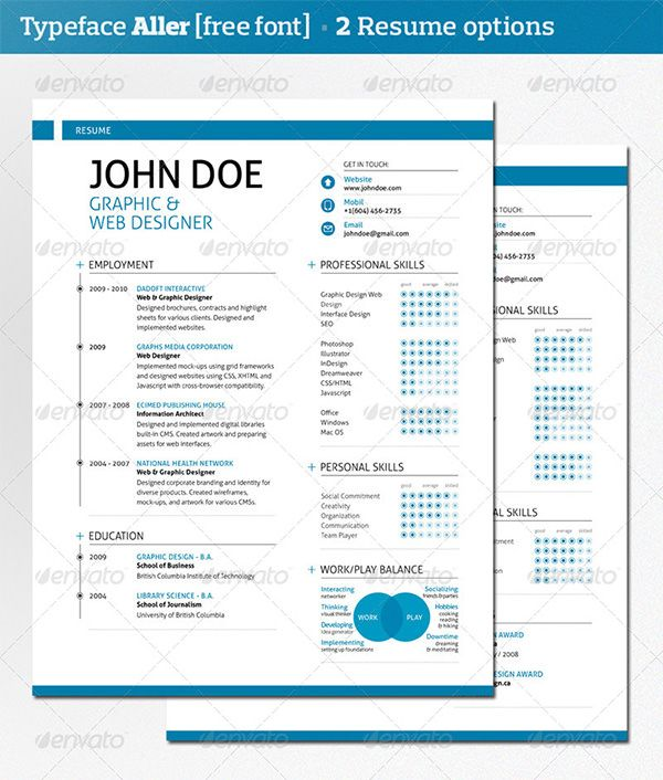 Modern Resume Template  Cover Letter  Portfolio Colors Blue