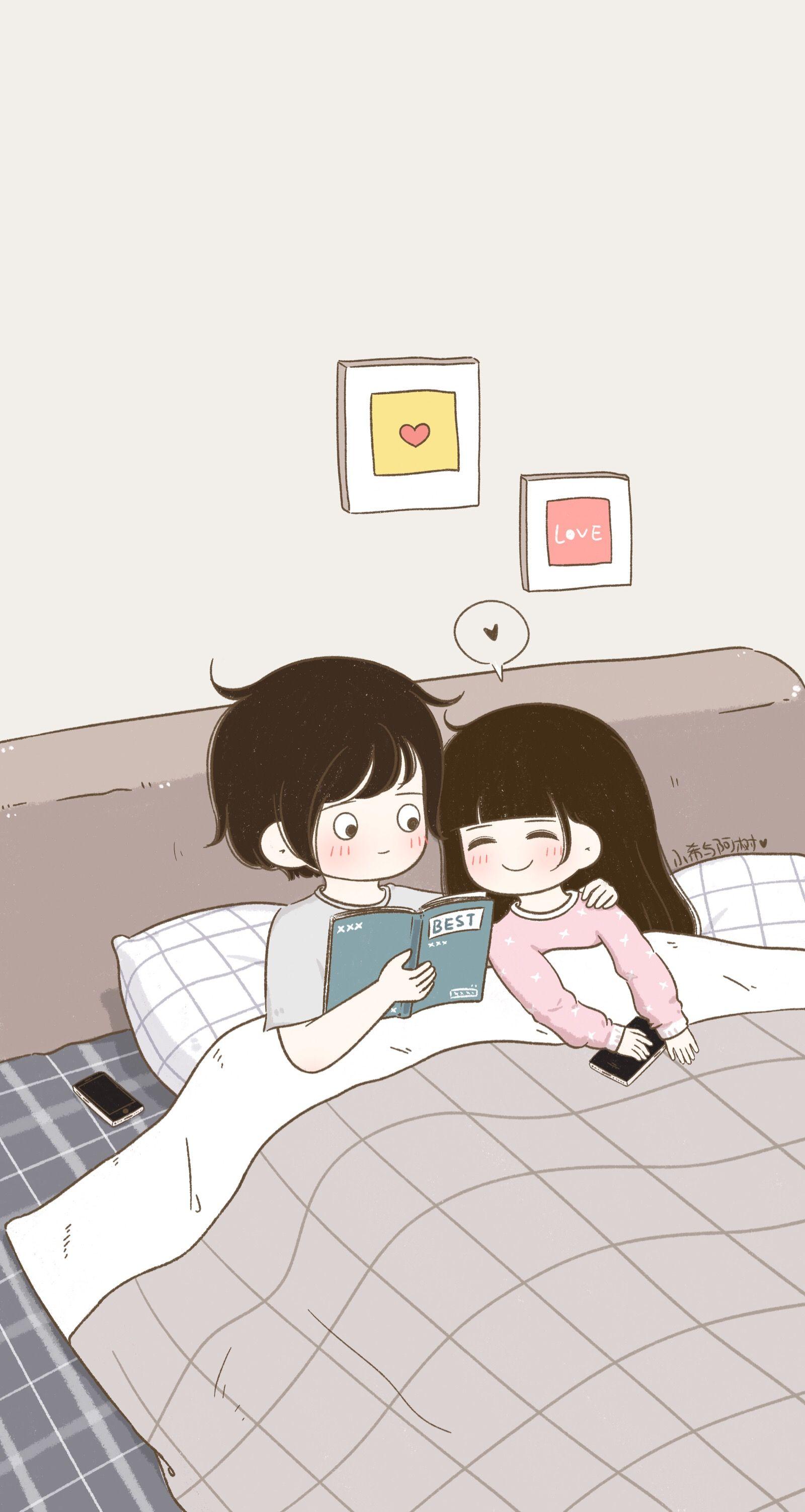Pin By Muskaan Ali On Love Wallpaper Cute Love Cartoons Cute Couple Cartoon Cute Cartoon Wallpapers