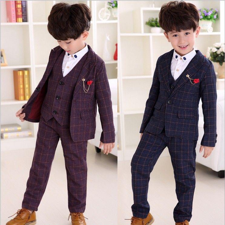 Children Clothes Boys Set Plaid Coat+Vest +Long Pants Suits For ...