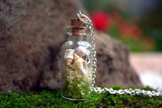 Terrarium necklace shells and moss terrarium by VeinsOfNature
