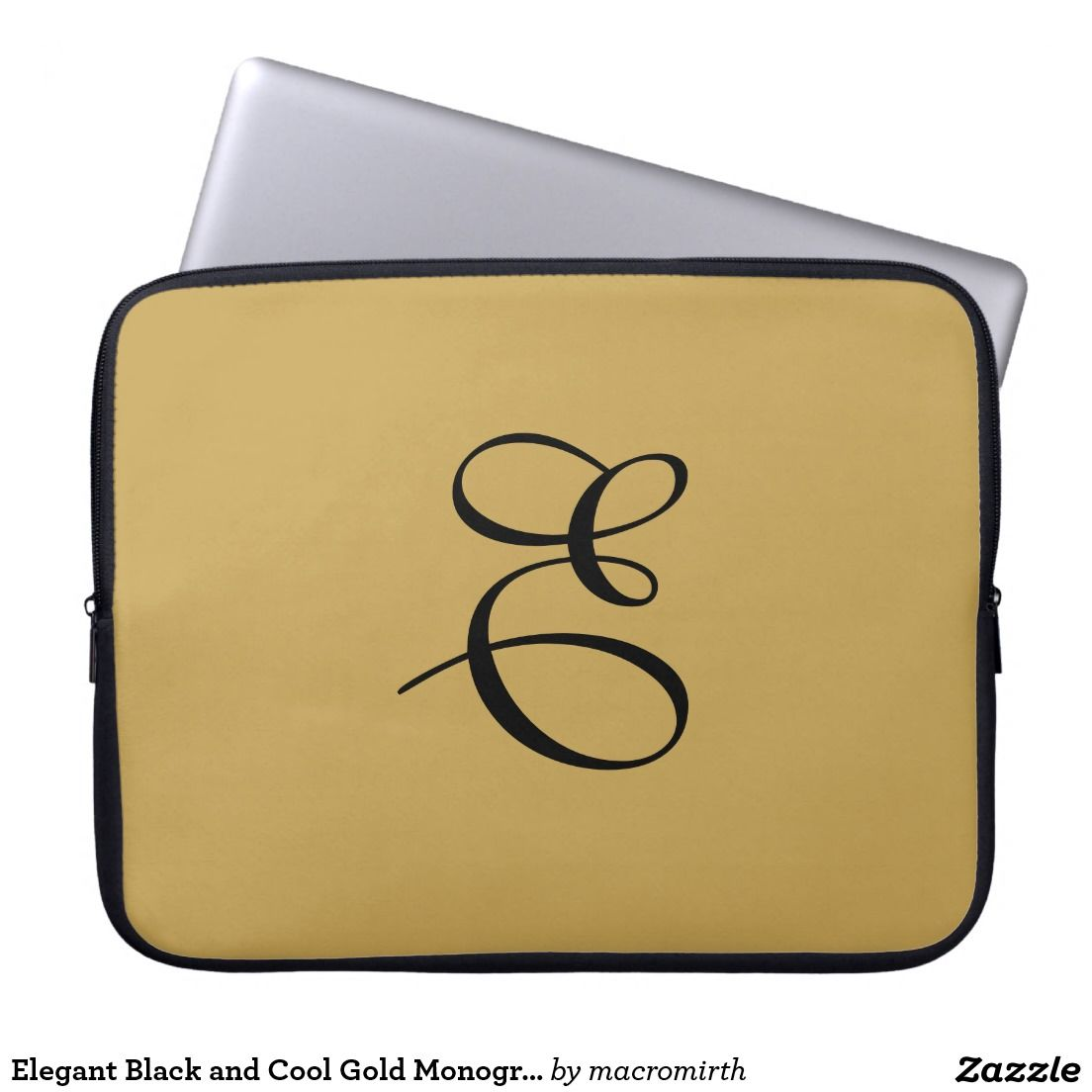 Elegant Black and Cool Gold / Tan Monogram Computer Sleeve. Customizable.