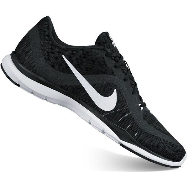 Nike Flex Trainer 6 Women's Cross-Training Shoes ($70) ❤ liked on Polyvore featuring shoes, athletic shoes, black, crosstraining shoes, kohl shoes, black shoes, nike footwear and black lace up shoes