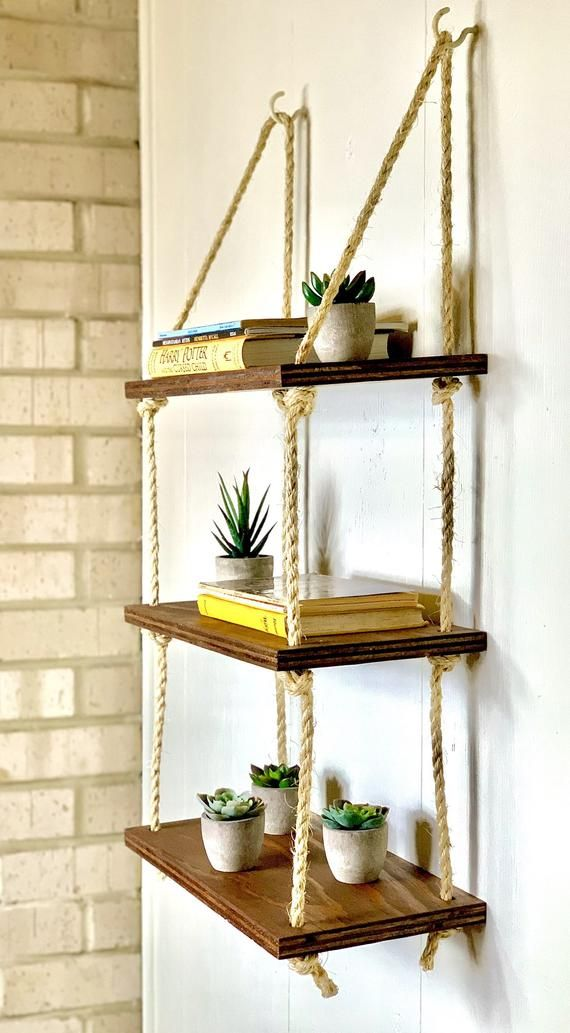 10++ Hanging wood shelves with rope trends