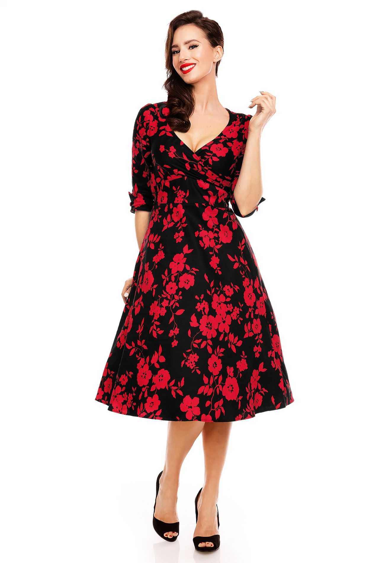 Katherine long sleeve us style swing dress in blackred floral