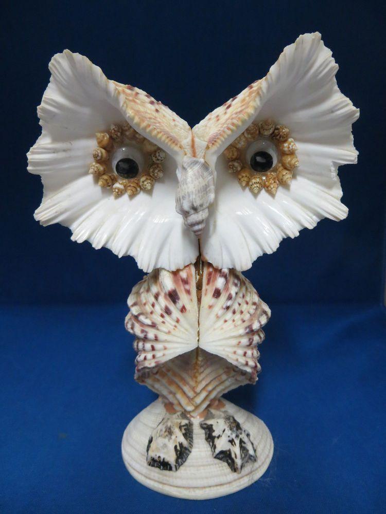Retro Seashell Owl Hand Made Figurine Statue Shells Beach Tropical  Collectible L